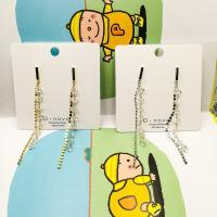 Zinklegierung Ohrringe, plattiert, für Frau & mit Strass, keine, frei von Nickel, Blei & Kadmium, 85mm, verkauft von Paar