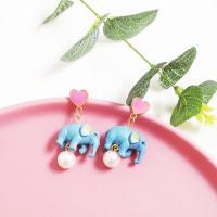 Kunststoff Tropfen Ohrring, mit Harz, Elephant, plattiert, verschiedene Stile für Wahl & für Frau, 50*25mm, verkauft von Paar