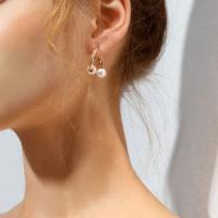 Zinklegierung Cartoon-Split-Ohrring, mit Kunststoff Perlen, plattiert, für Frau, frei von Nickel, Blei & Kadmium, 25mm, verkauft von Paar