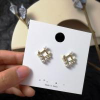 Zinklegierung Ohrstecker, mit Kunststoff Perlen, plattiert, für Frau & mit Strass, keine, frei von Nickel, Blei & Kadmium, 20*17mm, verkauft von Paar