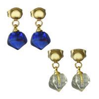 Edelstahl Tropfen Ohrring, mit Acryl, goldfarben plattiert, für Frau, keine, 8x10.5mm,17mm, 6PaarePärchen/Menge, verkauft von Menge