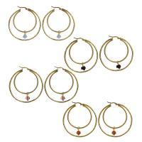 Edelstahl-Hebel zurück-Ohrring, Edelstahl, mit Acryl, goldfarben plattiert, für Frau, keine, 8x10mm,53x55mm, 6PaarePärchen/Menge, verkauft von Menge