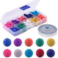 Künstlicher vulkanischer Stein Perle, rund, gemischte Farben, 128x65x22mm, Bohrung:ca. 1mm, 200PCs/Box, verkauft von Box