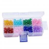 Perlmuttartige Glasperlen, Glas, rund, Einbrennlack, DIY, gemischte Farben, 137x68x27mm, Bohrung:ca. 1mm, 200PCs/Box, verkauft von Box
