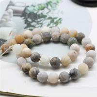 Bambus Achat Perle, rund, verschiedene Größen vorhanden & satiniert, keine, Bohrung:ca. 1mm, verkauft von Strang