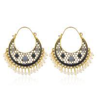 Zinklegierung Ohrringe, mit Kunststoff Perlen, plattiert, Bohemian-Stil & für Frau & Emaille & hohl, keine, frei von Nickel, Blei & Kadmium, 50x55mm, verkauft von Paar