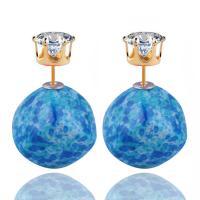 ABS-Kunststoff-Perlen Doppelseitigen Ohrstecker, goldfarben plattiert, für Frau & mit kubischem Zirkonia, keine, 16mm, 5PaarePärchen/Menge, verkauft von Menge