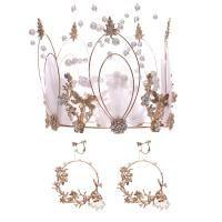 Braut Schmucksets, Zinklegierung, KroneWirbel & Ohrring, mit ABS-Kunststoff-Perlen, goldfarben plattiert, für Braut & mit Strass, frei von Nickel, Blei & Kadmium, 130x110mm,75mm, verkauft von setzen