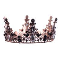 Krone, Zinklegierung, antike Kupferfarbe plattiert, für Frau & mit Strass, schwarz, frei von Nickel, Blei & Kadmium, 400x60mm, verkauft von PC