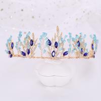 Krone, Zinklegierung, mit Kristall, goldfarben plattiert, für Braut & mit Strass, blau, frei von Nickel, Blei & Kadmium, 370x65mm, verkauft von PC