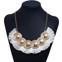 Zinklegierung Franse Halskette, mit Baumwollfaden, plattiert, für Frau, keine, frei von Nickel, Blei & Kadmium, verkauft von Strang