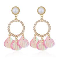 Zinklegierung Troddel Ohrring, mit Pailletten & Kunststoff Perlen, plattiert, für Frau, keine, frei von Nickel, Blei & Kadmium, verkauft von Paar