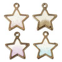 Zinklegierung Stern Anhänger, Rósegold-Farbe plattiert, Emaille, keine, frei von Nickel, Blei & Kadmium, 16.50x19x2.50mm, Bohrung:ca. 2mm, 50PCs/Menge, verkauft von Menge