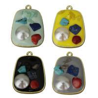 Zink-Legierung-Emaille-Anhänger, Zinklegierung, mit Edelstein- Chips & Kunststoff Perlen, goldfarben plattiert, keine, frei von Nickel, Blei & Kadmium, 21.50x29x7mm, Bohrung:ca. 1.5mm, 30PCs/Menge, verkauft von Menge