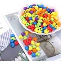 Kunststoffperlen, Kunststoff, Herz, plattiert, DIY, gemischte Farben, 11mm, 500G/Tasche, verkauft von Tasche