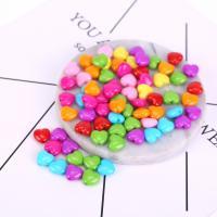 Acryl Schmuck Perlen, Herz, plattiert, DIY, gemischte Farben, 11mm, 500G/Tasche, verkauft von Tasche