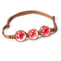 Glas Armband, mit Gewachsten Baumwollkordel & Getrocknete Blumen, Kumihimo & für Frau, keine, 12x12mm, Länge:ca. 3.3 ZollInch, 10SträngeStrang/Menge, verkauft von Menge