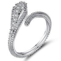 Messing Open -Finger-Ring, silberfarben plattiert, einstellbar & Micro pave Zirkonia & für Frau, frei von Nickel, Blei & Kadmium, 11.5x2.1mm, verkauft von PC