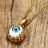 Edelstahl Halskette, plattiert, böser Blick- Muster & verschiedene Stile für Wahl & für den Menschen, goldfarben, 20x25mm, verkauft von Strang