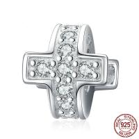 Befestiger Zirkonia Sterlingsilber Perlen, 925er Sterling Silber, Kreuz, platiniert, Micro pave Zirkonia, 9x10mm, verkauft von Paar