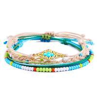 Gewachste Nylonschnur Armband-Set, mit Harz & Kunststoff, für Frau, gemischte Farben, frei von Nickel, Blei & Kadmium, 4PCs/setzen, verkauft von setzen