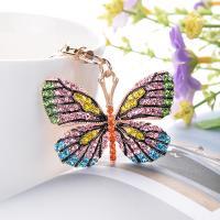 Zinklegierung Schlüssel Verschluss, Schmetterling, plattiert, für Frau & mit Strass, keine, frei von Nickel, Blei & Kadmium, 100x37x50mm, verkauft von PC