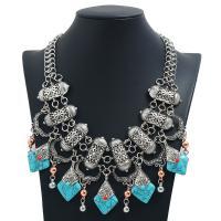 Mode Statement Halskette, Zinklegierung, mit Türkis, plattiert, für Frau, keine, frei von Nickel, Blei & Kadmium, 64mm, Länge:20 ZollInch, 2SträngeStrang/Menge, verkauft von Menge