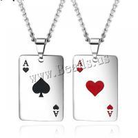 Titanstahl Halskette, Spielkarte, plattiert, für den Menschen & Emaille, keine, 30x20mm, Länge:570 Millimeter, verkauft von PC