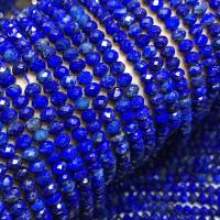 Lapislazuli Perle, rund, poliert, DIY & verschiedenen Materialien für die Wahl & facettierte, blau, 3x5mm, ca. 76PCs/Strang, verkauft per ca. 15 ZollInch Strang