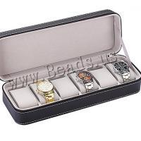 PU Leder Uhrkasten, mit Baumwollsamt, schwarz, 330x110x75mm, verkauft von PC