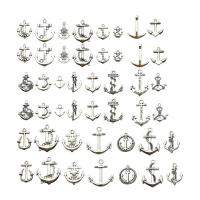 Zinklegierung Schiffsrad & Anker Anhänger, plattiert, DIY & gemischt, Silberfarbe, frei von Nickel, Blei & Kadmium, 22mm, 2Taschen/Menge, 46PCs/Tasche, verkauft von Menge