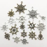 Zinklegierung Schiffsrad & Anker Anhänger, plattiert, DIY & gemischt, frei von Nickel, Blei & Kadmium, 22mm, 2Taschen/Menge, 57PCs/Tasche, verkauft von Menge