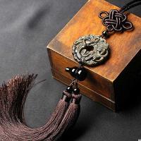 Gold- Obsidian mit Gewachsten Baumwollkordel, poliert, geschnitzed & gewebte Muster, braun, 46mm,350mm, verkauft per ca. 13.7 ZollInch Strang