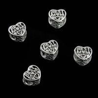Zinklegierung Herz Perlen, plattiert, DIY, Platin Farbe, frei von Nickel, Blei & Kadmium, 12*11mm, 10PCs/Tasche, verkauft von Tasche