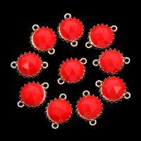 Harz Zinklegierung Schmuckverbinder, mit Harz, plattiert, 1/1-Schleife, rot, frei von Nickel, Blei & Kadmium, 19*14mm, 10PCs/Tasche, verkauft von Tasche
