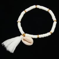 Polymer Ton Armband, mit Nylonschnur & Muschel, plattiert, für Frau, keine, verkauft per 6.6 ZollInch Strang