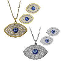 Edelstahl Mode Schmuckset, Halskette, mit Ton, blöser Blick, plattiert, Oval-Kette & für Frau, keine, 37x28mm,2mm,23x15.5mm, Länge:ca. 18 ZollInch, verkauft von setzen