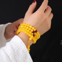 108 Mala Perlen, Bienenwachs, rund, verschiedene Größen vorhanden, gelb, frei von Nickel, Blei & Kadmium, verkauft per ca. 23.62 ZollInch Strang