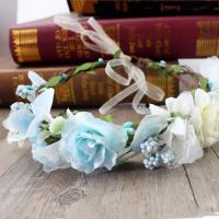 Brautkranz, Stoff, mit Rohrstock, für Frau, himmelblau, 180mm, verkauft von PC