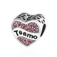 Zinklegierung Herz Perlen, plattiert, DIY & mit Strass, keine, frei von Nickel, Blei & Kadmium, 10*11mm, 10PCs/Tasche, verkauft von Tasche