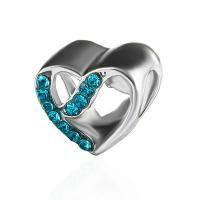 Zinklegierung Herz Perlen, plattiert, DIY & mit Strass, keine, frei von Nickel, Blei & Kadmium, 9*8mm, 10PCs/Tasche, verkauft von Tasche