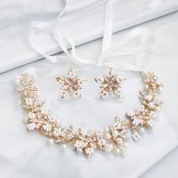 Braut Schmucksets, , Kunststoff Perlen, mit Messingdraht & Zinklegierung, für Frau & mit Strass, 21cmx2.5x2.5cm, verkauft von setzen