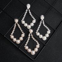 Braut Ohrring, Strass, mit Glasperlen & Zinklegierung, für Frau & mit Strass, keine, 4x7cm, verkauft von Paar