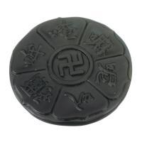Schwarzer Obsidian Anhänger, flache Runde, DIY, schwarz, 46.50x46.50x8mm, Bohrung:ca. 1mm, verkauft von PC