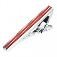 Messing Krawattenklammer, mit rotes Sandelholz, plattiert, für den Menschen, frei von Nickel, Blei & Kadmium, 52x7mm, 2PCs/Menge, verkauft von Menge