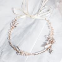 Brautkranz, Zinklegierung, mit Messingdraht & Kunststoff Perlen, für Frau & mit Strass, Goldfarbe, 36cm, verkauft von PC