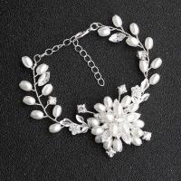 Braut Armband, Kunststoff Perlen, mit Messingdraht, für Frau & mit Strass, 16x5.5cm, verkauft von PC