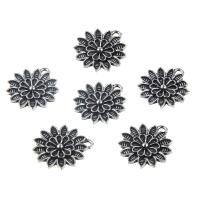 Zinklegierung Blume Anhänger, plattiert, DIY, Silberfarbe, frei von Nickel, Blei & Kadmium, 21*18mm, 10PCs/Tasche, verkauft von Tasche