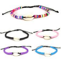 Muschel Schmuck Armband, mit PU Schnur & Polymer Ton, Folk-Stil & einstellbar & verschiedene Stile für Wahl & für Frau, verkauft per ca. 6.30 ZollInch Strang