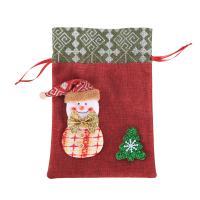 Leinen Christmas Gift Bag, mit Gestrick & Schwamm, verschiedene Stile für Wahl, 200x300mm, 5PCs/Menge, verkauft von Menge